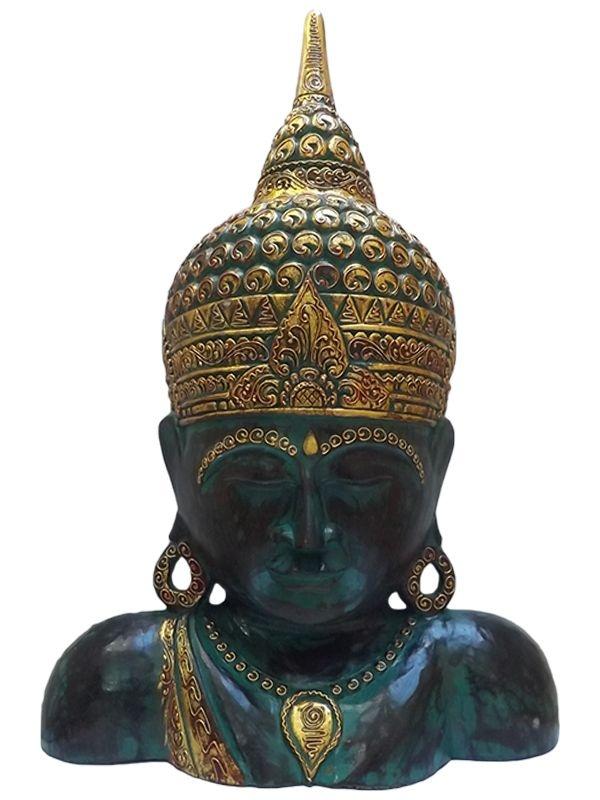 Busto de Buda em Madeira Pátina Verde 75cm - Arte Decorativa