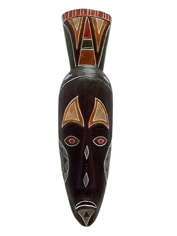 Máscara Decorativa em Madeira de Bali 50cm - Arte Rústica