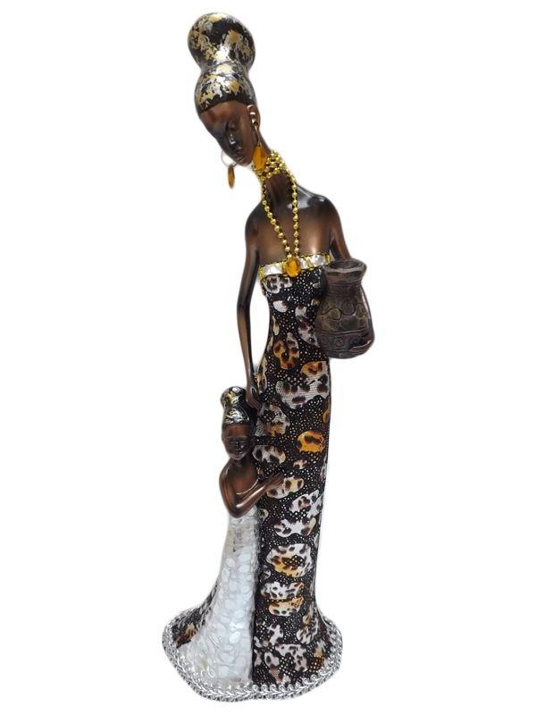 """Escultura """"Africana com Filha"""" em Resina para Decoração 40cm"""