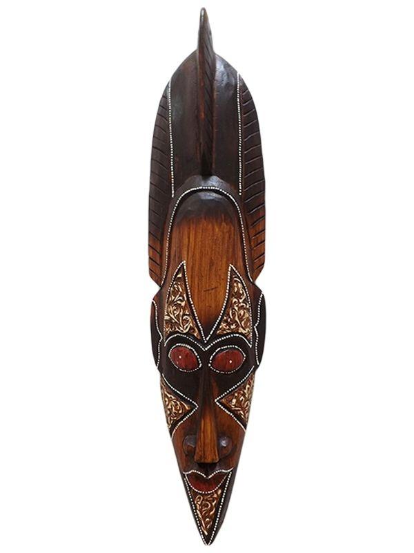 Máscara de Bali em Madeira para Decoração - Cocar Rococo 50cm
