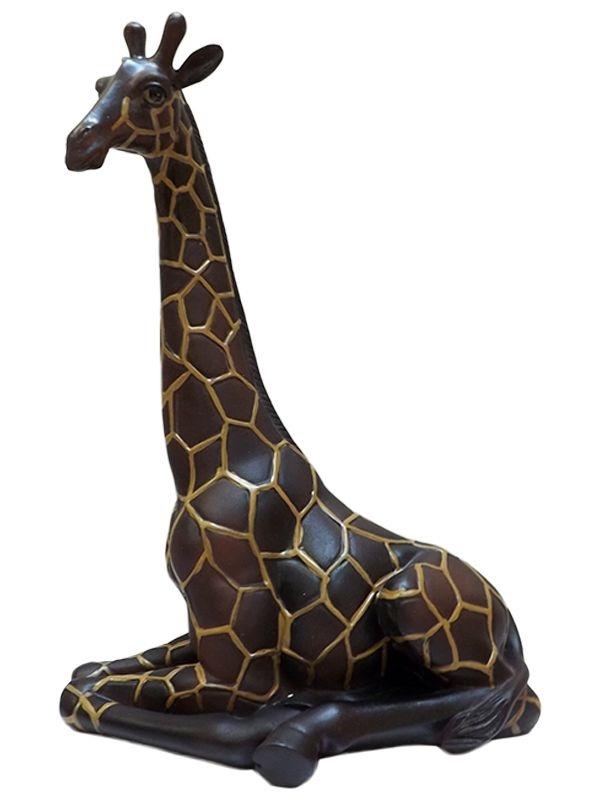 Escultura Realista de Girafa em Resina p/ Decoração 30x23cm