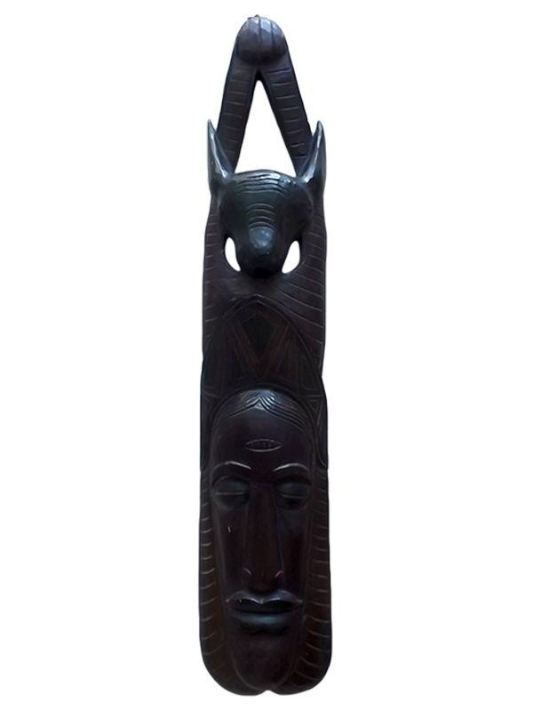"""Máscara Decorativa """"Adoxu"""" em Madeira 100cm - Arte Africana"""