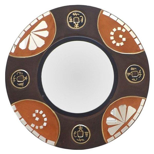 Espelho Decorativo Redondo com Moldura Moeda Chinesa 40cm