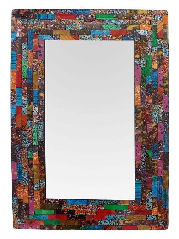 Espelho Retangular c/ Moldura Mosaico Colorido 60x40cm - Bali