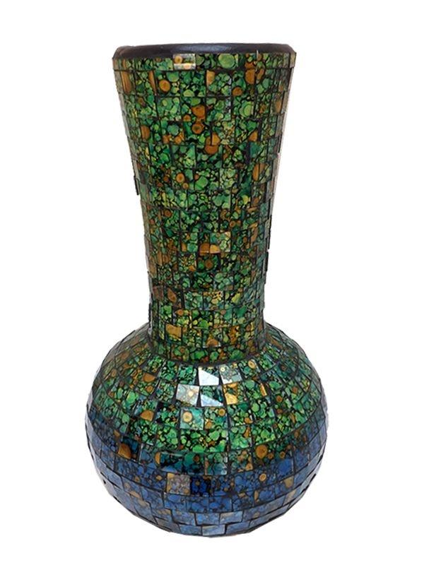 Vaso Mosaico Colorido em Cerâmica 32x17cm - Arte de Bali