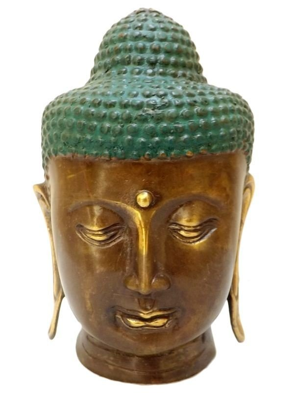 Cabeça de Buda em Bronze p/ Decoração 20cm - Arte Decorativa