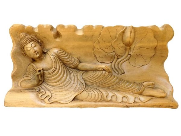 Escultura em Tronco de Buda Deitado 20x47cm - Arte Bali