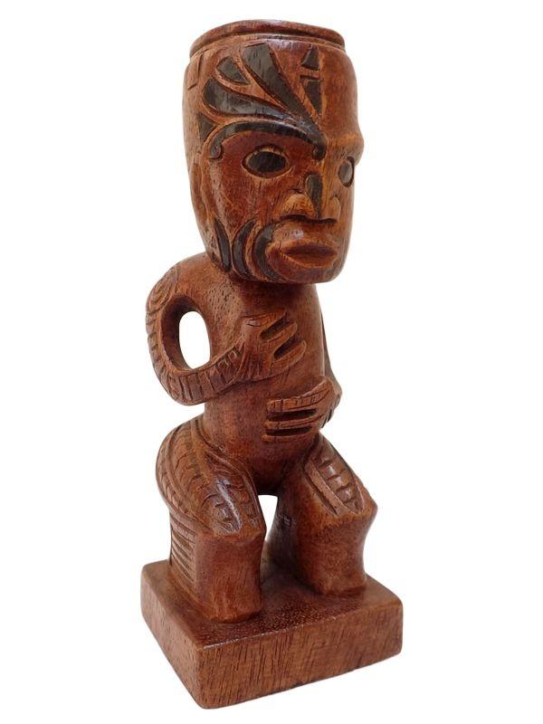 Escultura Maori em Madeira p/ Decoração 16cm - Arte Bali