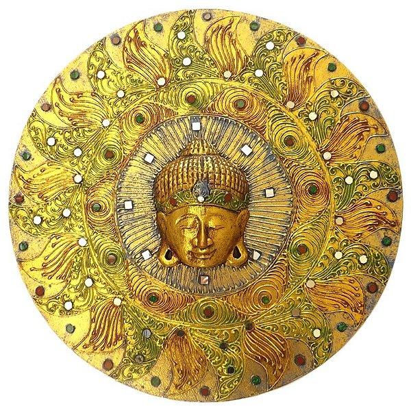 Mandala Gold Mosaico com Buda em Madeira 50cm - Arte Bali