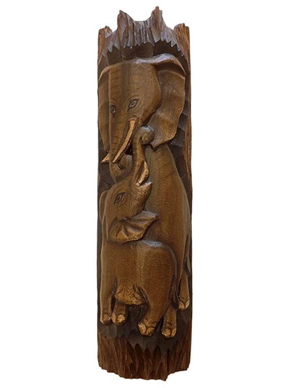 Painel Elefante com Filhote em Madeira 50x14cm - Arte Bali