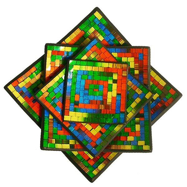 Conjunto de Pratos Decorativos em Cerâmica c/ Mosaico Color
