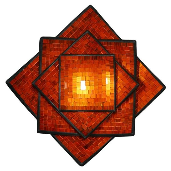 Conjunto de Pratos Decorativos c/ Mosaico Laranja - Bali