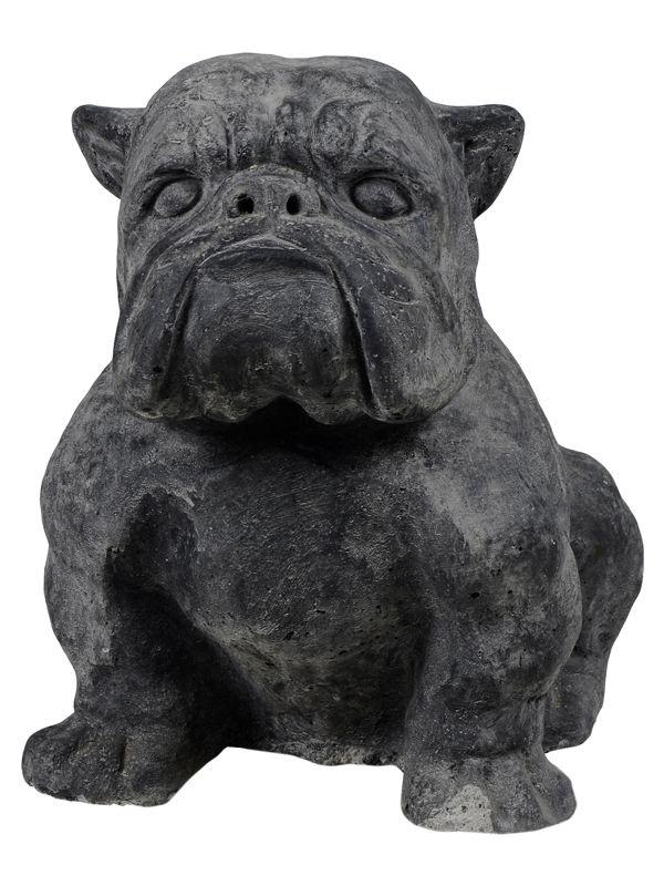 Escultura de Bulldog em Pedra para Jardim 25x18cm