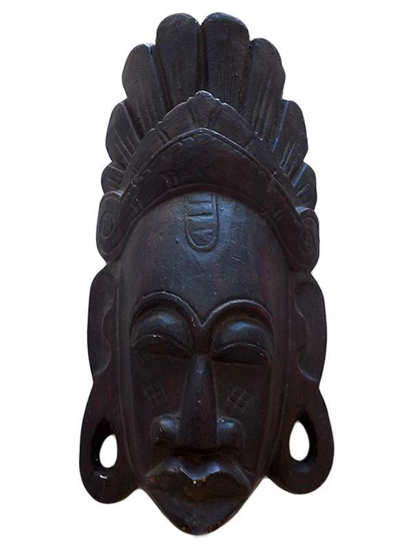 Máscara Africana em Madeira p/ Decoração - Face Crua 40cm
