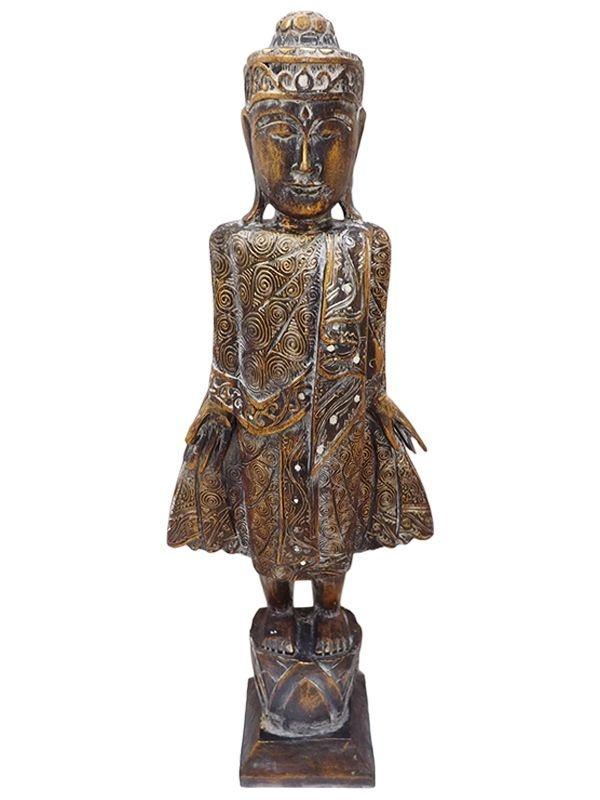"""Escultura em Madeira """"Buda em Pé"""" 105cm"""