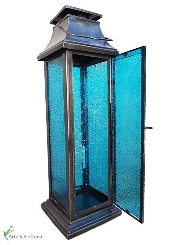 Lanterna decorativa p/ velas - Ahamkara  Azul Turquesa 61cm