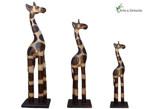 Trio de Girafas p/ decoração 50/40/30cm - Artesanato de Bali