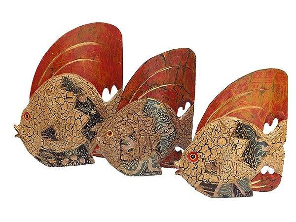 Trio de Peixes em Madeira e Batik p/ Decoração - Arte Bali