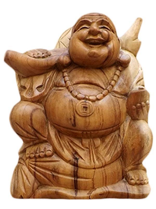 """Escultura """"Happy Buda"""" em Madeira - Bali"""