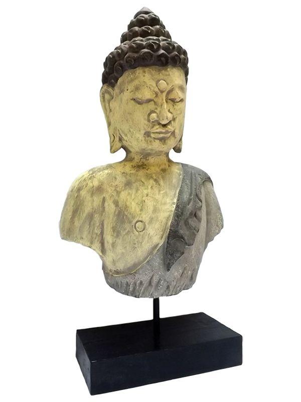 Busto de Buda Rústico em Madeira - Bali