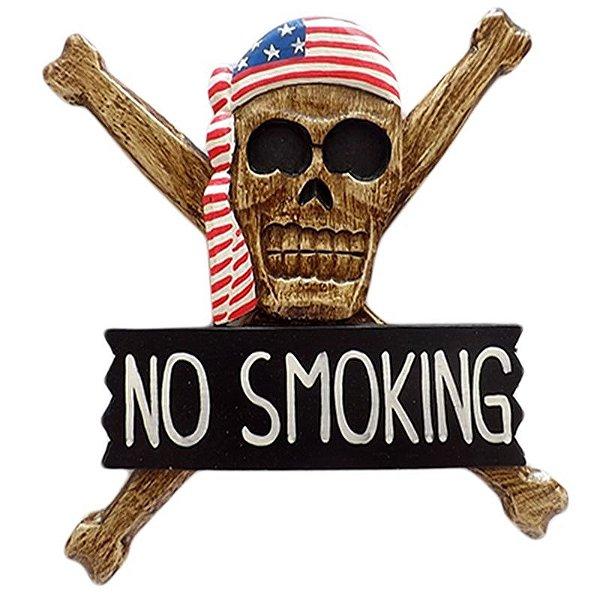 """Placa de Caveira """"No Smoking"""" em Madeira 30cm - Arte Bali"""