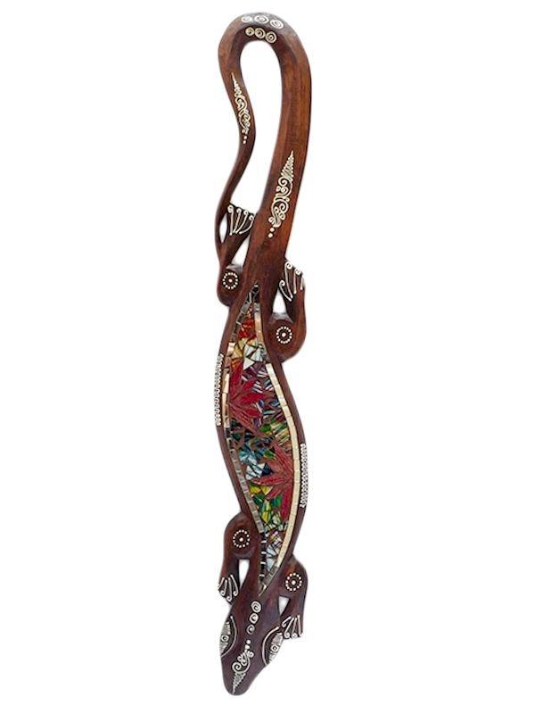 Lagarto Gecko em Madeira com Mosaico 100cm - Arte Bali