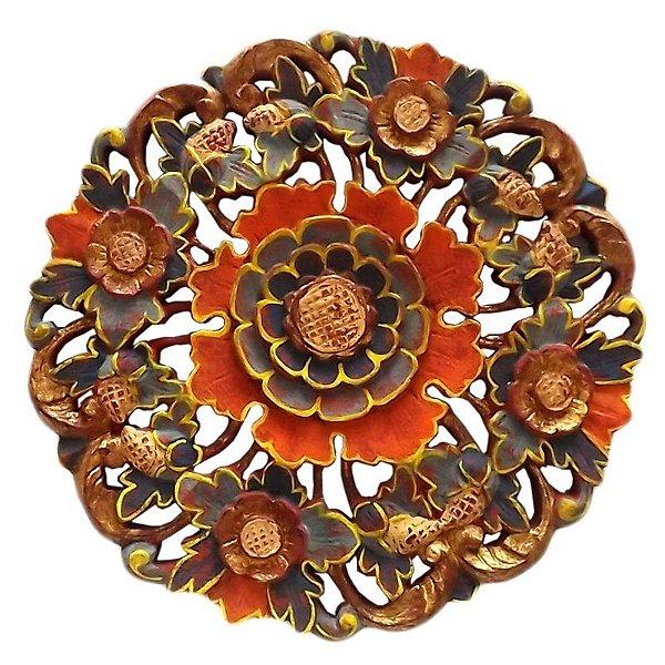 Mandala em Madeira p/ Paredes 40cm - Bali