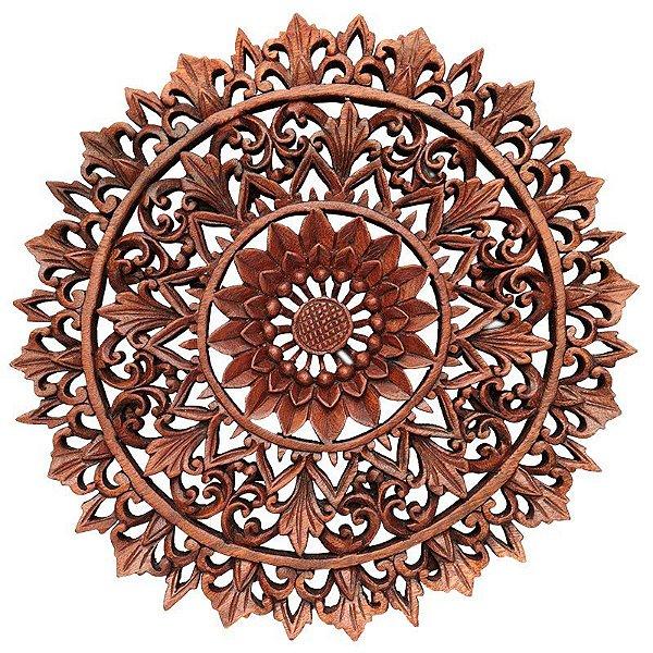 "Mandala ""Floral"" Entalhada Bali 40cm"