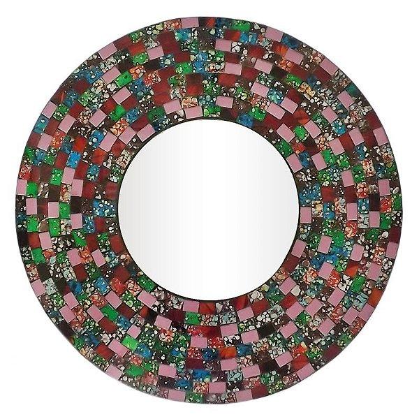 Espelho Redondo Mosaico Colorido 60cm - Bali