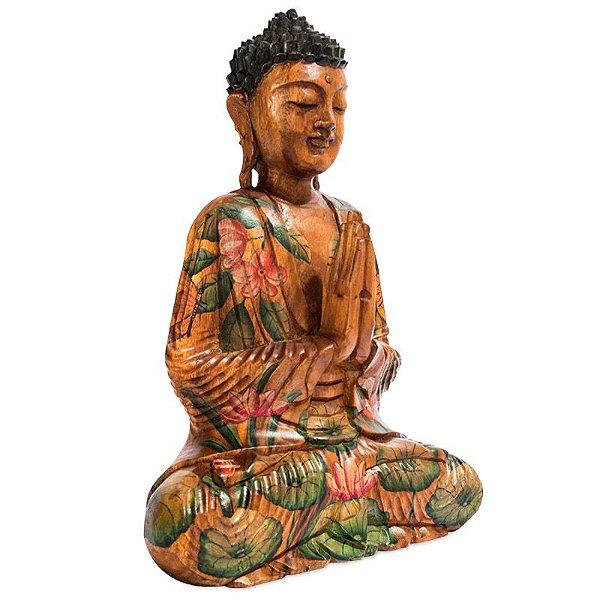 Buda em Madeira c/ Pintura Artística 50cm