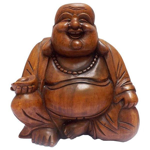 Happy Buda em Madeira Suar 32cm - Bali