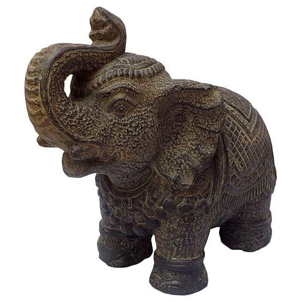 Escultura de Elefante em Pedra para Jardim 25x18cm