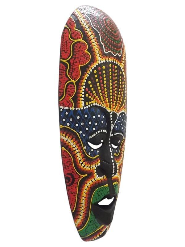 """Máscara Decorativa em Madeira """"Color"""" 30cm - Arte Lombok"""