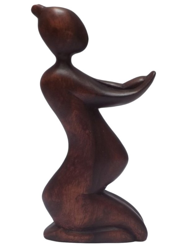"""Escultura Abstrata """"Mãe e Bebê"""" em Madeira Suar - Bali"""