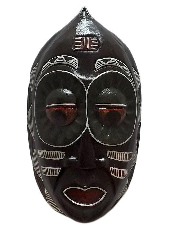Máscara em Madeira p/ Decoração de Paredes - Mbaua 30cm