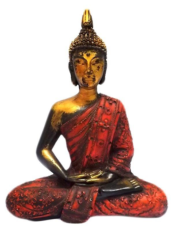 Escultura de Buda Tailandês em Resina 28cm - Arte Rústica