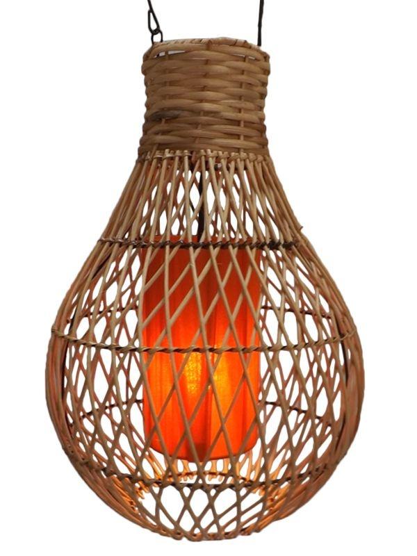 Luminária de Fibra Natural e Tecido 50cm - Bali