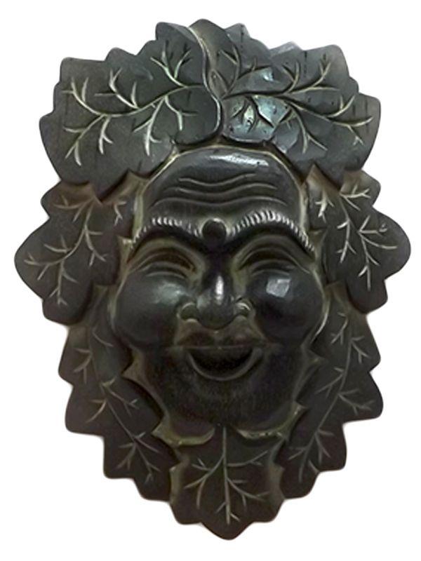 "Máscara Decorativa ""Happy Buda"" em Madeira 25cm - Bali"