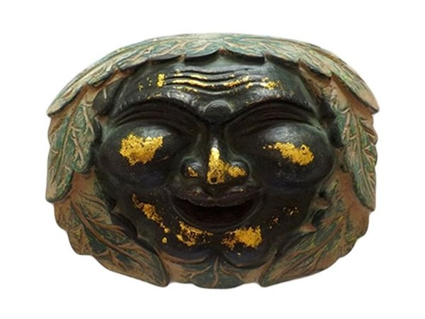 "Máscara Decorativa ""Happy Buda"" em Madeira 22cm - Bali"