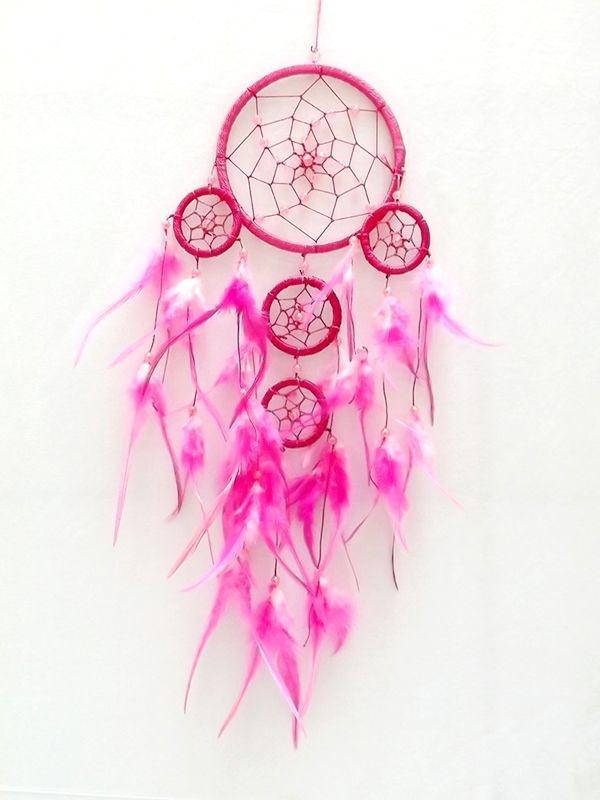 Filtro dos Sonhos (Dream Catcher) Rosa 43cm