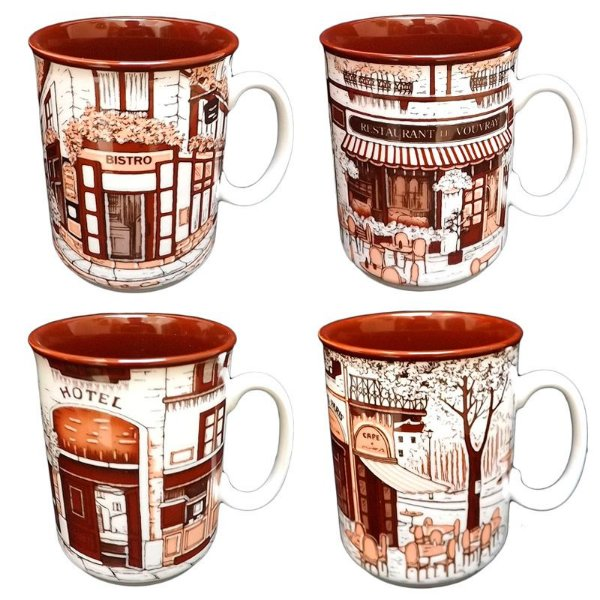 Jogo 04 Canecas p/ Chá em Porcelana