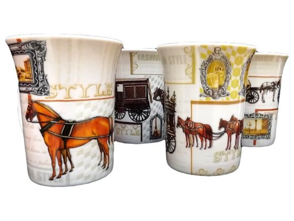 Jogo 04 Canecas de Chá em Porcelana