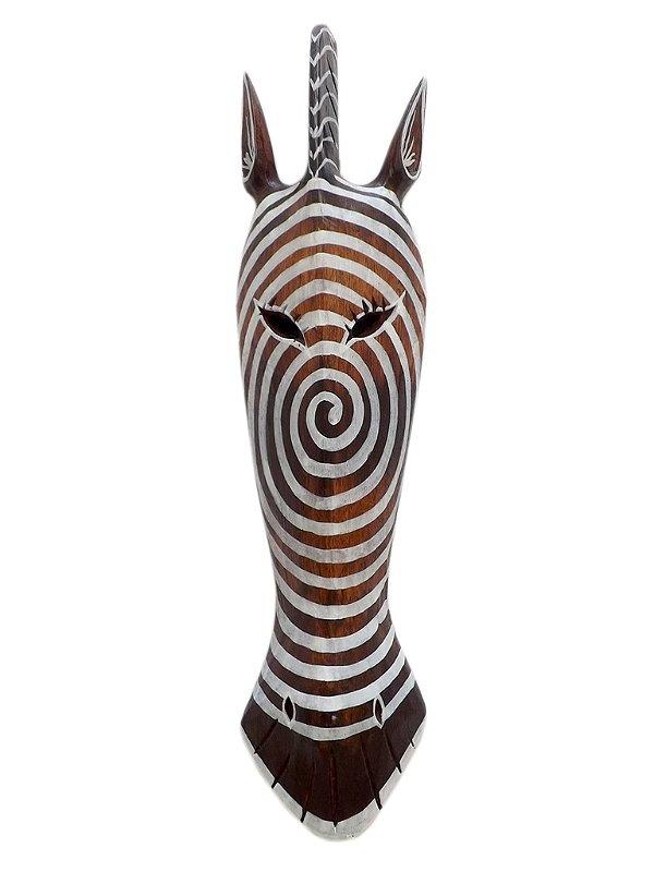"""Máscara Decorativa em Madeira """"Hipnose"""" 50cm - Arte Bali"""