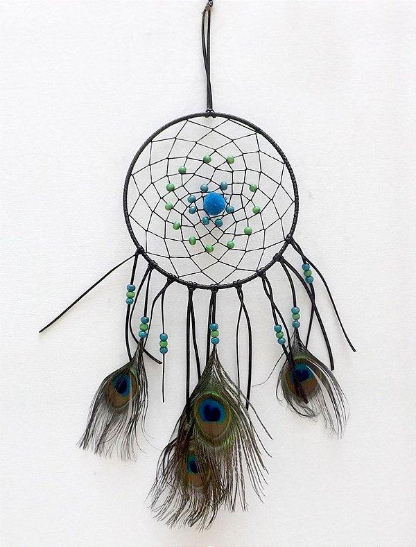 Filtro dos Sonhos (Dream Catcher) Pena de Pavão 35cm