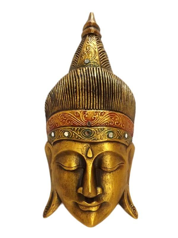 """Máscara em Madeira """"Buda Gold"""" 50cm"""