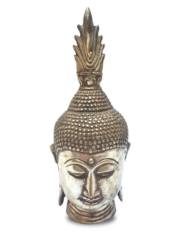 """Escultura """"Cabeça de Buda"""" em Metal p/ Decoração 17cm"""