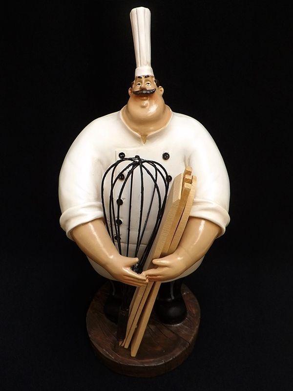 """Escultura Cozinheiro """"Porta Utensílios"""" em Resina 35cm"""