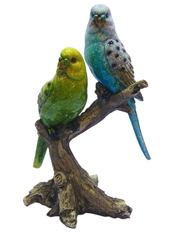 """Escultura """"Pássaros no Tronco"""" em Cerâmica 21cm"""