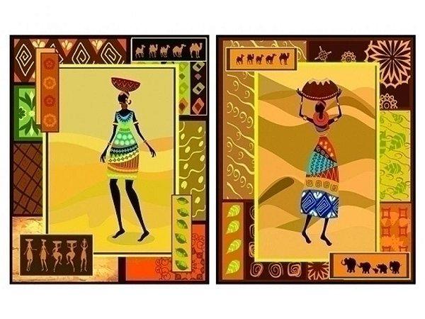 """Par de Quadros """"África Abstrata"""" 50x40cm"""