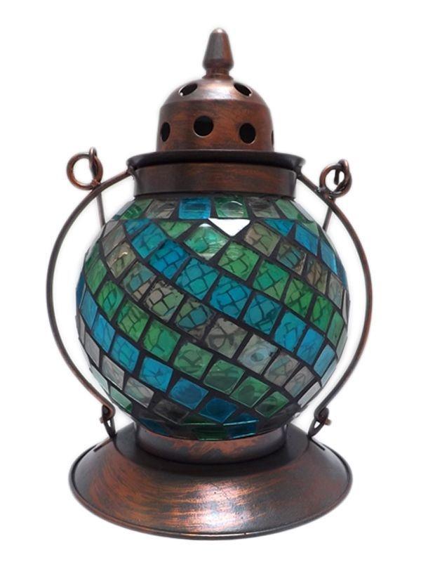 """Lanterna Indiana """"Lampião"""" com Mosaico Colorido 21cm"""